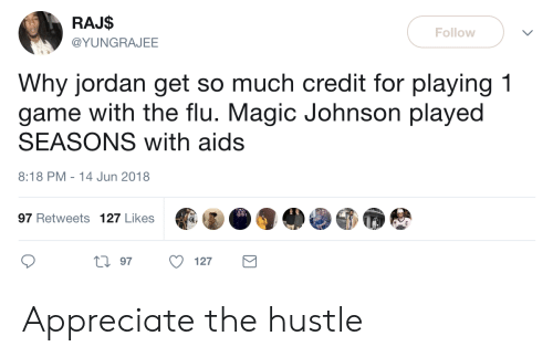 Magic Johnson: RAJ$  @YUNGRAJEE  Follow  Why jordan get so much credit for playing 1  game with the flu. Magic Johnson played  SEASONS with aids  8:18 PM-14 Jun 2018  97 Retweets 127 Likes  0 97 127 Appreciate the hustle