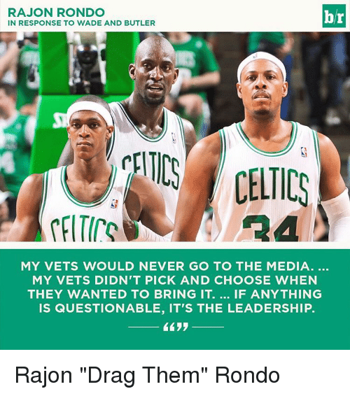 """Rajon Rondo: RAJON RONDO  br  IN RESPONSE TO WADE AND BUTLER  MY VETS WOULD NEVER GO TO THE MEDIA  MY VETS DIDN'T PICK AND CHOOSE WHEN  THEY WANTED TO BRING IT. IF ANYTHING  IS QUESTIONABLE, IT'S THE LEADERSHIP. Rajon """"Drag Them"""" Rondo"""