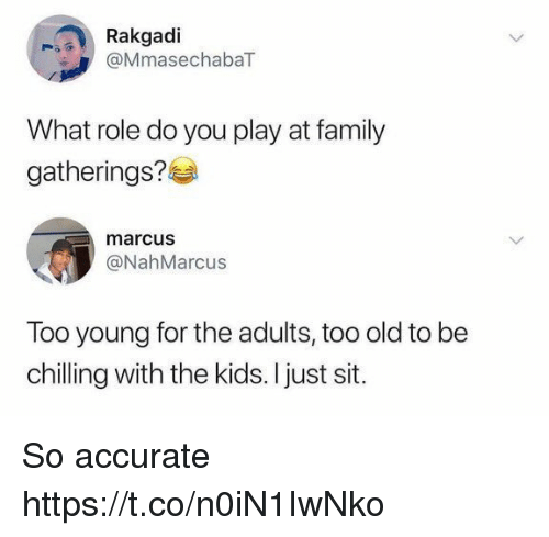 Family, Funny, and Kids: Rakgadi  @MmasechabaT  What role do you play at family  gatherings?  marcus  @NahMarcus  Too young for the adults, too old to be  chilling with the kids. I just sit. So accurate https://t.co/n0iN1IwNko