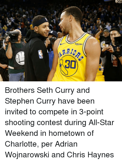 Stephen Curry: Rakuten  30 Brothers Seth Curry and Stephen Curry have been invited to compete in 3-point shooting contest during All-Star Weekend in hometown of Charlotte, per Adrian Wojnarowski and Chris Haynes