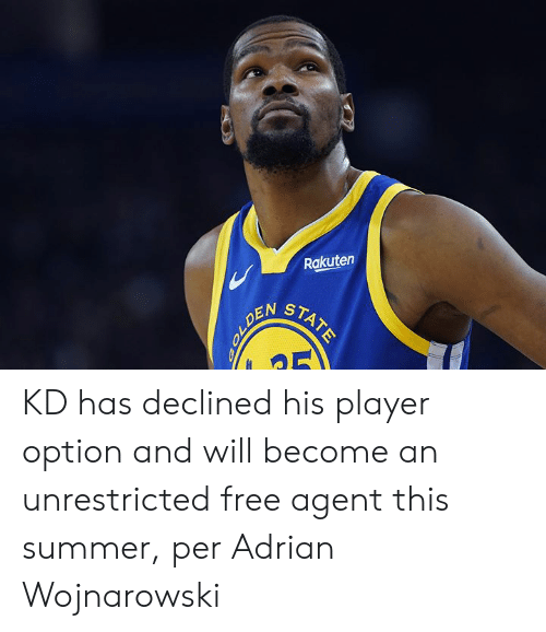 rakuten: Rakuten  STATE  OLDEN KD has declined his player option and will become an unrestricted free agent this summer, per Adrian Wojnarowski
