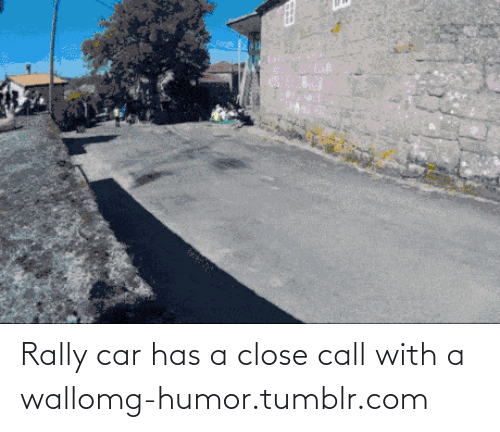 rally car: Rally car has a close call with a wallomg-humor.tumblr.com