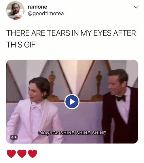 Gif, Okay, and Relatable: ramone  @goodtimotea  THERE ARE TEARS IN MY EYES AFTER  THIS GIF  Okay! GO SHINE SHINE SHINE  GIF ❤❤❤