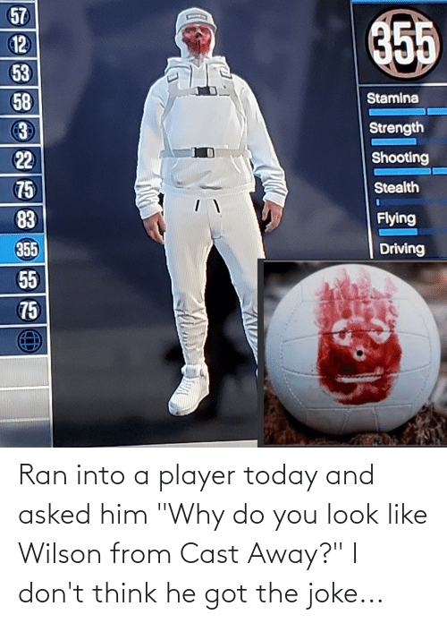 """i-dont-think: Ran into a player today and asked him """"Why do you look like Wilson from Cast Away?"""" I don't think he got the joke..."""