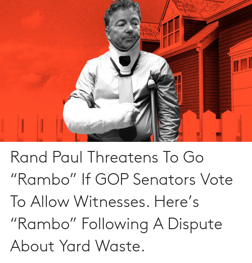 """rand: Rand Paul Threatens To Go """"Rambo"""" If GOP Senators Vote To Allow Witnesses. Here's """"Rambo"""" Following A Dispute About Yard Waste."""