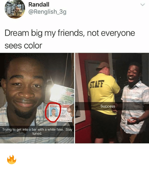 Taff: Randall  @Renglish 3g  Dream big my friends, not everyone  sees Color  TAFF  0  Success  Trying to get into a bar with a white fake. Stay  tuned. 🔥