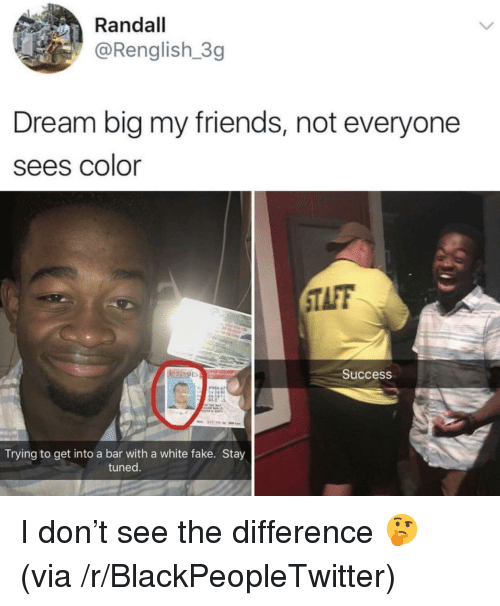 Taff: Randall  @Renglish 3g  Dream big my friends, not everyone  sees Color  TAFF  0  Success  Trying to get into a bar with a white fake. Stay  tuned. <p>I don&rsquo;t see the difference 🤔 (via /r/BlackPeopleTwitter)</p>