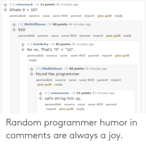 Programmer Humor, Joy, and Random: Random programmer humor in comments are always a joy.