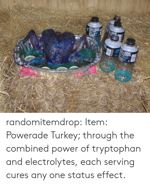 electrolytes: randomitemdrop: Item: Powerade Turkey; through the combined power of tryptophan and electrolytes, each serving cures any one status effect.