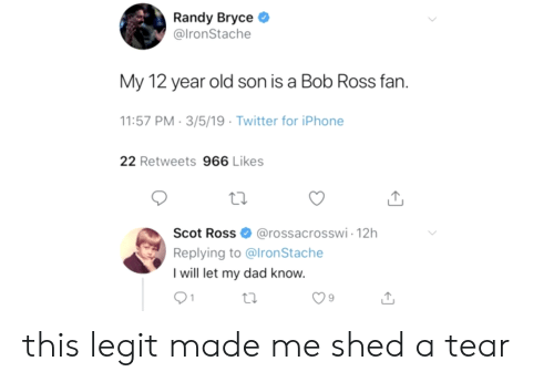 randy: Randy Bryce  @lronStache  My 12 year old son is a Bob Ross fan.  1:57 PM-3/5/19 Twitter for iPhone  22 Retweets 966 Likes  Scot Ross@rossacrosswi-12h  Replying to @lronStache  I will let my dad know.  9 this legit made me shed a tear