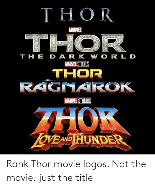 Logos: Rank Thor movie logos. Not the movie, just the title