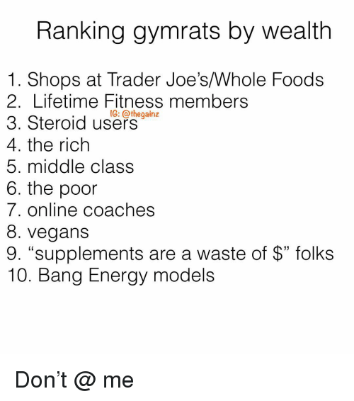 "joes: Ranking gymrats by wealth  1. Shops at Trader Joe's/Whole Foods  2. Lifetime Fitness members  3. Steroid use-  4. the rich  5. middle class  6. the poor  7. online coaches  8. vegans  9. ""supplements are a waste of $"" folks  10. Bang Energy models  1G: @thegainz Don't @ me"
