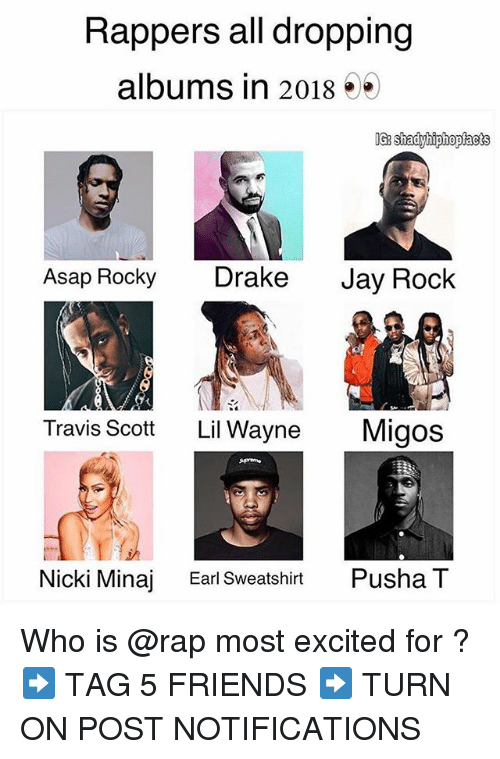 Drake, Friends, and Jay: Rappers all dropping  albums in 2018 5*  Asap Rocky Drake Jay Rock  Travis Scott  Lil Wayne  Migos  di  Nicki Minaj  Earl Sweatshirt  Pusha T Who is @rap most excited for ? ➡️ TAG 5 FRIENDS ➡️ TURN ON POST NOTIFICATIONS