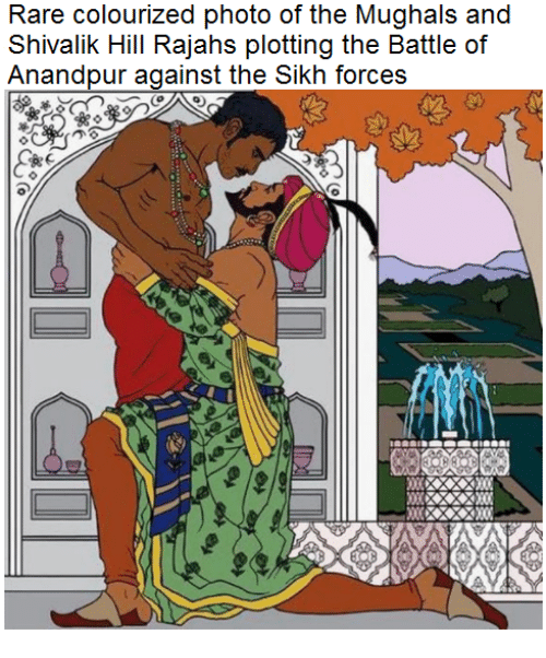 Sick Sikh: Rare colourized photo of the Mughals and  Shivalik Hill Rajahs plotting the Battle of  Anandpur against the Sikh forces