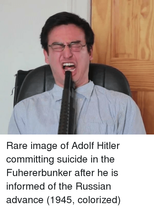 Committing Suicide: Rare image of Adolf Hitler committing suicide in the Fuhererbunker after he is informed of the Russian advance (1945, colorized)