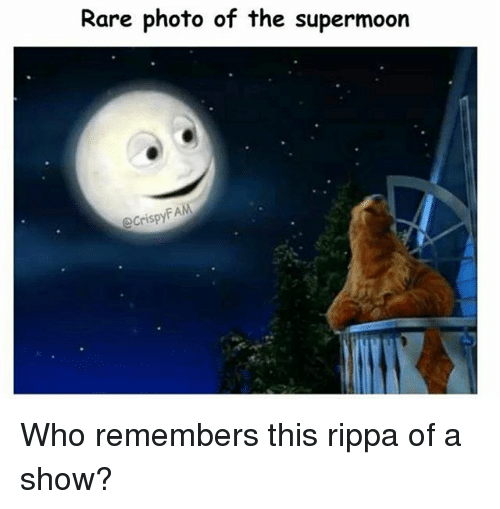 Memes, 🤖, and Who: Rare photo of the supermoorn  e CrispyFA Who remembers this rippa of a show?
