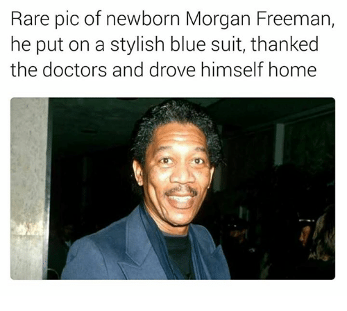 Morgan Freeman, Blue, and Home: Rare pic of newborn Morgan Freeman,  he put on a stylish blue suit, thanked  the doctors and drove himself home
