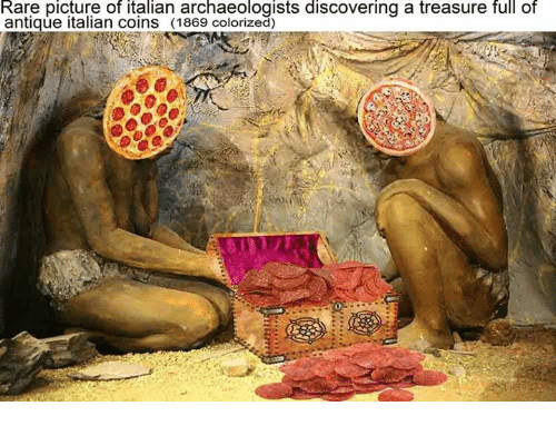 antiquated: Rare picture of italian archaeologists discovering a treasure full of  antique italian coins (1869 colorized)