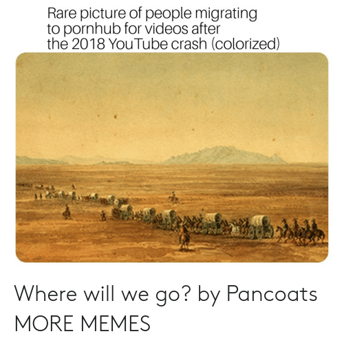 Rares: Rare picture of people migrating  to pornhub for videos after  the 2018 YouTube crash (colorized) Where will we go? by Pancoats MORE MEMES
