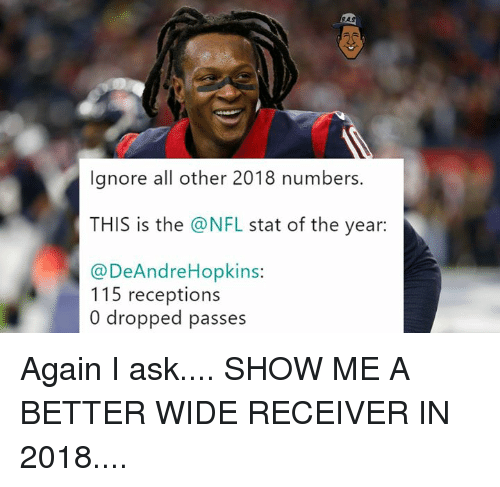 receiver: RAS  lgnore all other 2018 numbers.  THIS is the @NFL stat of the year:  @DeAndreHopkins:  115 receptions  0 dropped passes Again I ask....  SHOW ME A BETTER WIDE RECEIVER IN 2018....