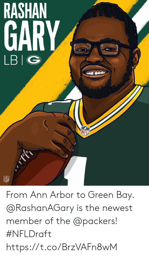 green bay: RASHAN  GARY  LBIG  NFL From Ann Arbor to Green Bay.  @RashanAGary is the newest member of the @packers! #NFLDraft https://t.co/BrzVAFn8wM