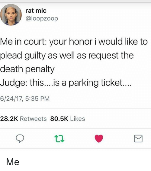 Memes, Death, and 🤖: rat mic  @loopzoop  Me in court: your honor i would like to  plead guilty as well as request the  death penalty  Judge: this.is a parking ticket...  6/24/17, 5:35 PM  28.2K Retweets 80.5K Likes Me