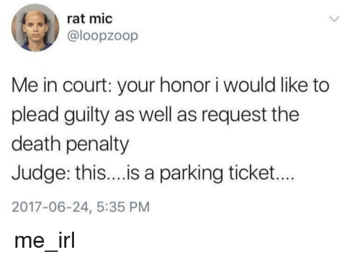 death penalty: rat mic  @loopzoop  Me in court: your honor i would like to  plead guilty as well as request the  death penalty  Judge: thi...is a parking ticket...  2017-06-24, 5:35 PM me_irl
