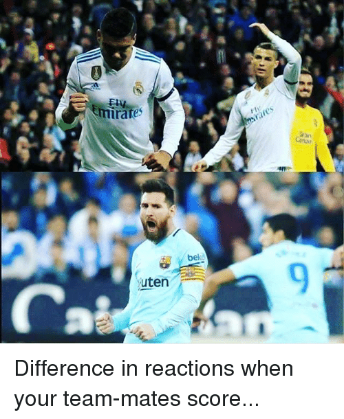 Memes, 🤖, and Team: rates  Canar  bekd  9  uten Difference in reactions when your team-mates score...