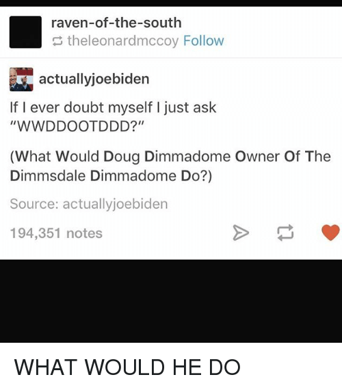 "Doug, Memes, and Raven: raven-of-the-south  theleonardmccoy Follow  actuallyjoebiden  If I ever doubt myself I just ask  ""WWDDOOTDDD?""  (What Would Doug Dimmadome Owner Of The  Dimmsdale Dimmadome Do?)  Source: actuallyjoebiden  194,351 notes WHAT WOULD HE DO"