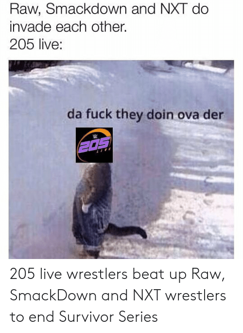 nxt: Raw, Smackdown and NXT do  invade each other.  205 live:  da fuck they doin ova der 205 live wrestlers beat up Raw, SmackDown and NXT wrestlers to end Survivor Series