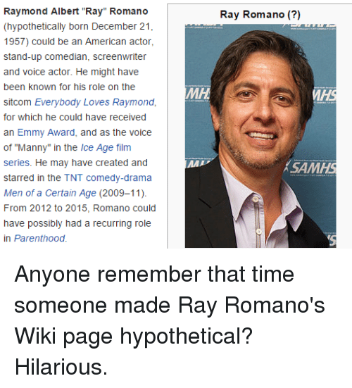 """Everybody Loves Raymond: Raymond Albert """"Ray"""" Romano  (hypothetically born December 21  1957) could be an American actor,  stand-up comedian, screenwriter  and voice actor. He might have  been known for his role on the  sitcom Everybody Loves Raymond,  for which he could have received  an Emmy Award, and as the voice  of """"Manny"""" in the Ice Age film  series. He may have created and  starred in the TNT comedy-drama  Men of a Certain Age (2009-11).  From 2012 to 2015, Romano could  have possibly had a recurring role  in Parenthood.  Ray Romano (?)  MD  SAMHS"""