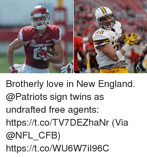 England, Love, and Memes: RAZORBACKs Brotherly love in New England.  @Patriots sign twins as undrafted free agents: https://t.co/TV7DEZhaNr (Via @NFL_CFB) https://t.co/WU6W7iI96C