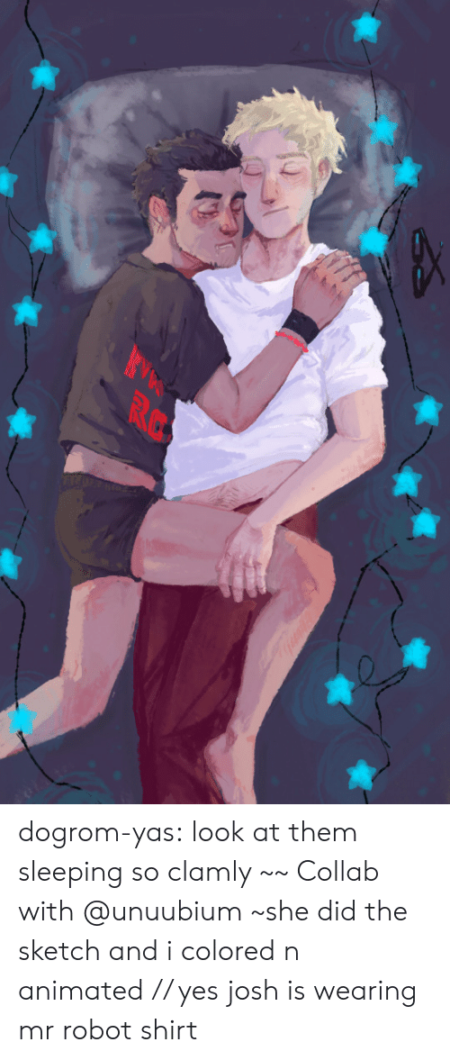 Animated: RC dogrom-yas:  look at them sleeping so clamly ~~Collab with @unuubium ~she did the sketch and i colored n animated// yes josh is wearing mr robot shirt