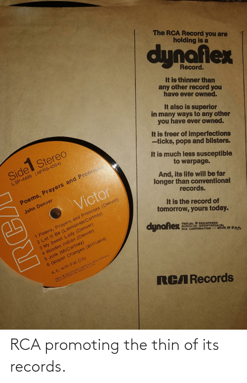 rca: RCA promoting the thin of its records.