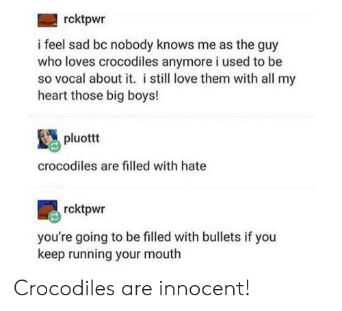 Big Boys: rcktpwr  i feel sad bc nobody knows me as the guy  who loves crocodiles anymore i used to be  so vocal about it. i still love them with all my  heart those big boys!  pluottt  crocodiles are filled with hate  rcktpwr  you're going to be filled with bullets if you  keep running your mouth Crocodiles are innocent!