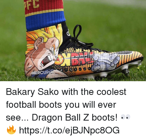 Football, Soccer, and Boots: RCUR Bakary Sako with the coolest football boots you will ever see...  Dragon Ball Z boots! 👀🔥 https://t.co/ejBJNpc8OG