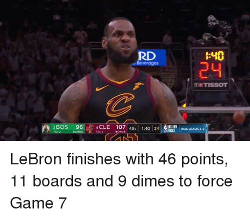 dimes: RD  :40  24  Beverages  T TISSOT  2BOS  96|ik4CLE  107 | 4th | 1:40124|SRNA 'İBOS LEADS LeBron finishes with 46 points, 11 boards and 9 dimes to force Game 7