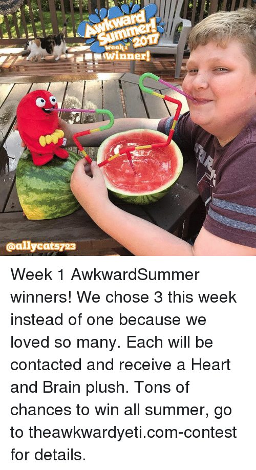 wees: rd  wee  winner!  @allycats723 Week 1 AwkwardSummer winners! We chose 3 this week instead of one because we loved so many. Each will be contacted and receive a Heart and Brain plush. Tons of chances to win all summer, go to theawkwardyeti.com-contest for details.