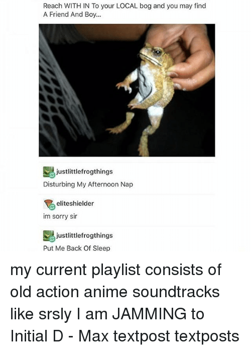 Anime, Friends, and Memes: Reach WITH IN To your LOCAL bog and you may find  A Friend And Boy...  justlittlefrogthings  Disturbing My Afternoon Nap  eliteshielder  im sorry sir  justlittlefrogthings  Put Me Back Of Sleep my current playlist consists of old action anime soundtracks like srsly I am JAMMING to Initial D - Max textpost textposts