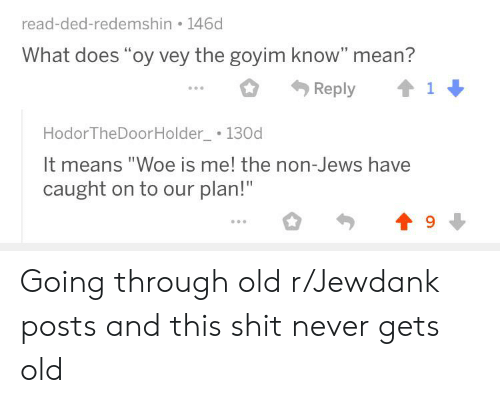 "Goyim Know: read-ded-redemshin 146d  What does ""oy vey the goyim know"" mean?  Reply  Hodor TheDoorHolder 130d  It means ""Woe is me! the non-Jews have  caught on to our plan!""  9 Going through old r/Jewdank posts and this shit never gets old"