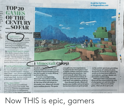 """niko bellic: Read the full lists  at theguardian.com  TOP 20  GAMES  OFTHE  CENTURY  ... SO FAR  n in  nce,  as  da  ss,  y at  t.  ed  e  by Keith Stt and Keza MacDonald A labour  a  of love...  Minecraft  20 Fortnite (2017)  the  e  W en Epic Games adde a battle  roya de to its zo oie shooter,  it became a global phenomenon,  attracting 250m players and  featuring in everything from Fox  News to Avengers: Endgame.  19 Grand Theft Auto IV (2008)  Niko Bellic comes to New York to  escape the life of crime in eastern  Europe -but the American dream  swiftly turns sour. GTA's New York is  stunning to inhabit, so full of life it is  hard to believe it's powered by co  1 Minecraft (2d09)  18 Red Dead Redemption 2 (20  Its story of outlaws trying to outrun  the march of time is impressive  Swedish coderMarkus""""Notch""""  Persson didn't invent the concept  of the block-based building game,  but the founder of studio Mojang  perfected the idea.  From the very beginning,  Minecraft was a labour of love,  shared between creator and fans.  By the time of its full release in  November 2011, Minecraft already  had 10 million players. The game  was split into two experiences:  Survival mode where players had  to battle zombies and giant spiders  while mining for resources, and  Creative mode where they were  given an unlimited inventory of  wooden, glass and stone blocks to  craft their own ambitious projects.  Over the past decade, Minecraft  has become a hobby and social space.  Servers have been set up for people  on the autistic spectrum, providing  a vital means of communication.  Hundreds of schools throughout the  world use its Education edition to  teach physics, geology, drama, art,  electronics and farming.  With more than 175m now sold,  Minecraft has transcended the idea  of what games are and what they  can achieve. When you load the  game, what you do is up to you.  y  enough, but the world in which it  takes place -vast, picturesque, full of  strange encounters most p"""