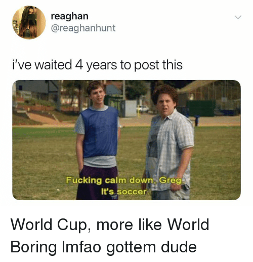 Dude, Fucking, and Soccer: reaghan  @reaghanhunt  i've waited 4 years to post this  Fucking calm down Greo  It's soccer. World Cup, more like World Boring lmfao gottem dude