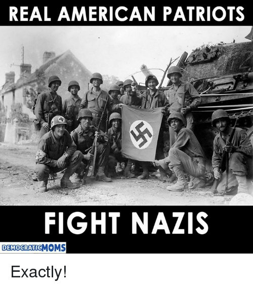 Patriotic, American, and Fight: REAL AMERICAN PATRIOTS  FIGHT NAZIS  DEMOCRATIC Exactly!