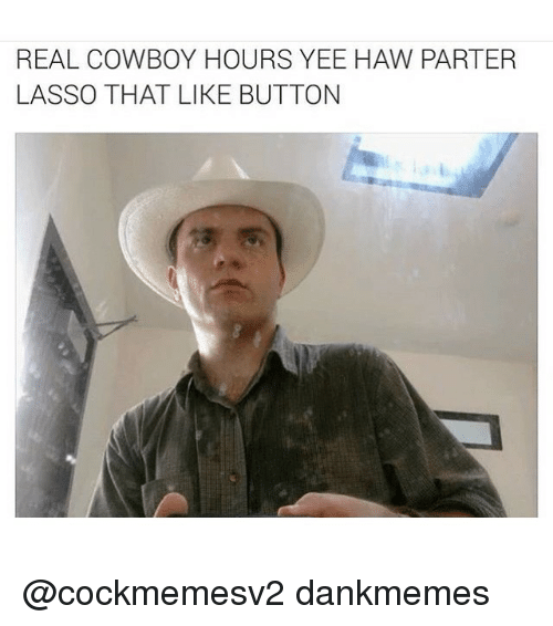 Real Cowboy: REAL COWBOY HOURS YEE HAW PARTER  LASSO THAT LIKE BUTTON @cockmemesv2 dankmemes