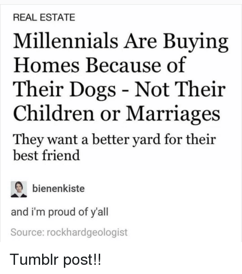 tumblr post: REAL ESTATE  Millennials Are Buying  Homes Because of  Their Dogs - Not Their  Children or Marriages  They want a better yard for their  best friend  bienenkiste  and i'm proud of y'all  Source: rockhardgeologist Tumblr post!!