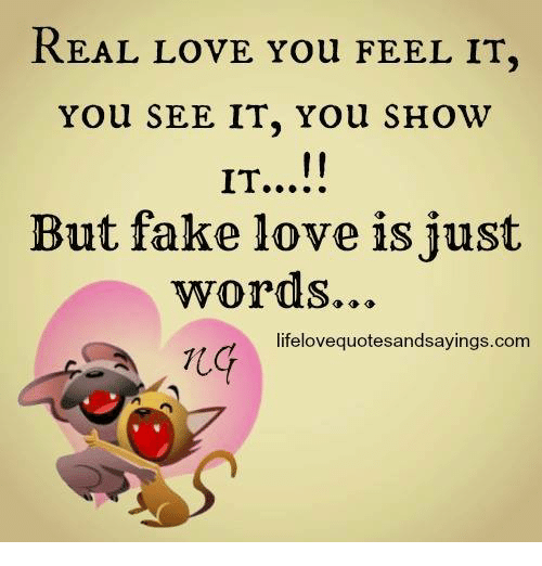 memes: REAL LOVE You FEEL IT,  You SEE IT, You SHOW  But fake love is just  words...  lifelovequotesandsayings.com