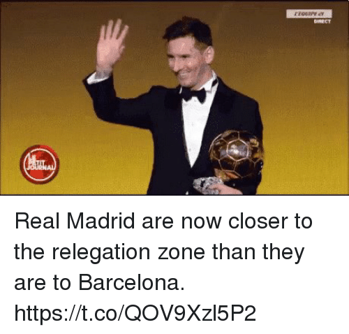 Barcelona, Real Madrid, and Soccer: Real Madrid are now closer to the relegation zone than they are to Barcelona. https://t.co/QOV9Xzl5P2
