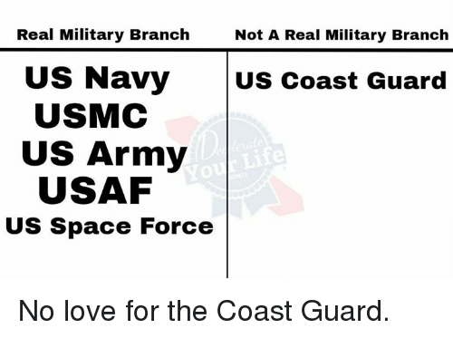 Love, Memes, and Yo: Real Military Branch  Not A Real Military Branch  US Navy  USMC  US Coast Guard  US Army  USAF  Yo  US Space Force No love for the Coast Guard.