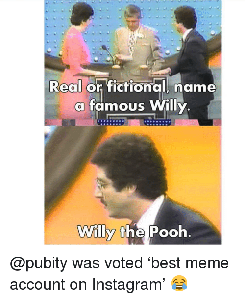 Instagram, Meme, and Memes: Real or fictional, name  a famous Willy  Willy the Pooh @pubity was voted 'best meme account on Instagram' 😂