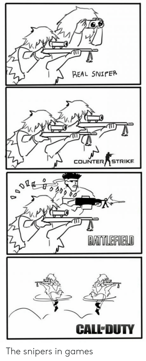 Battlefield: REAL SNIPER  COUNTER STRIKE  BATTLEFIELD  CALL DUTY The snipers in games